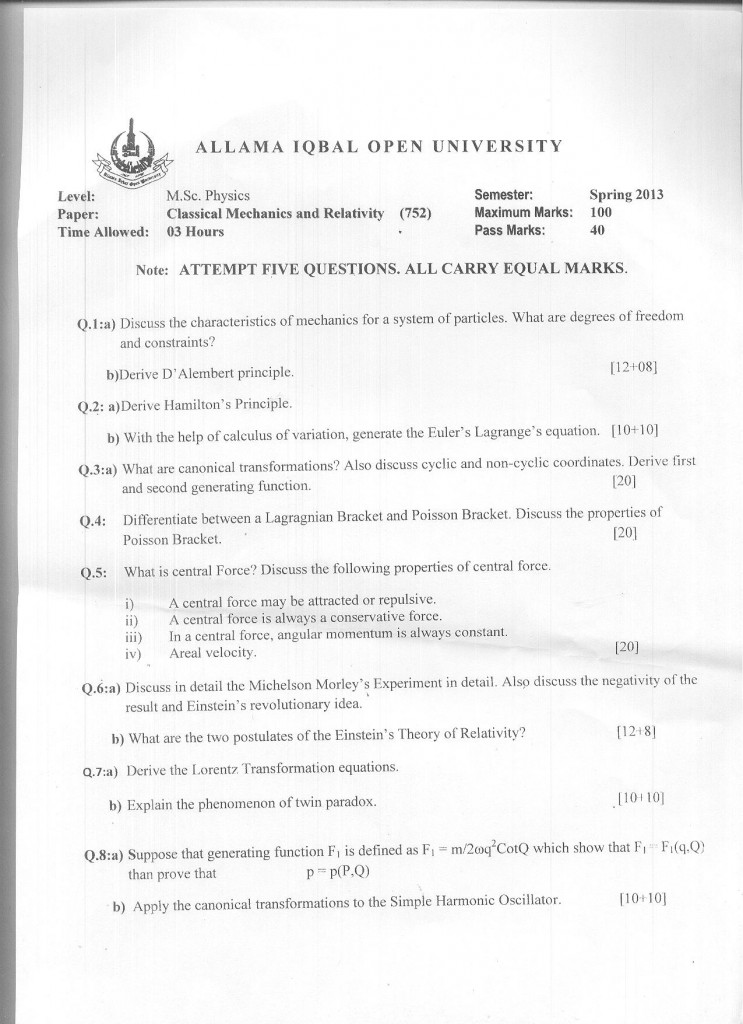 Code 752 AIOU Old Paper Classical Mechanics and Relativity