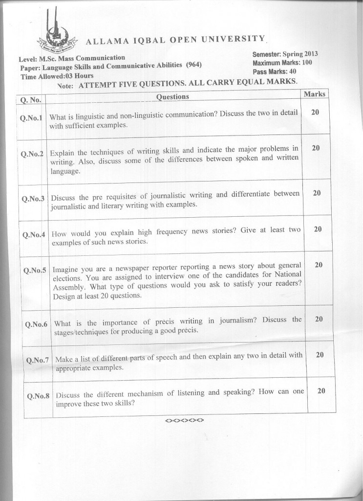 Code 964 AIOU Old Paper Language Skills and Communicative Abilities Spring 2013