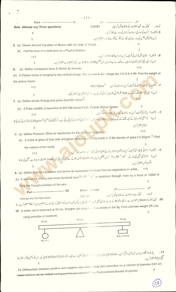 physics patern guess paper Matric BISE