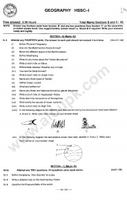 Geography Model Guess papers federal board 2014 class 11