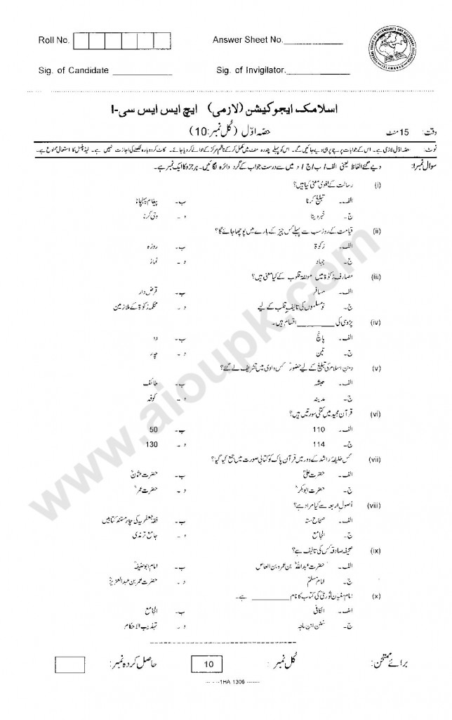 Islamic Education Compulsory  Model Guess papers past paper first year FBISE