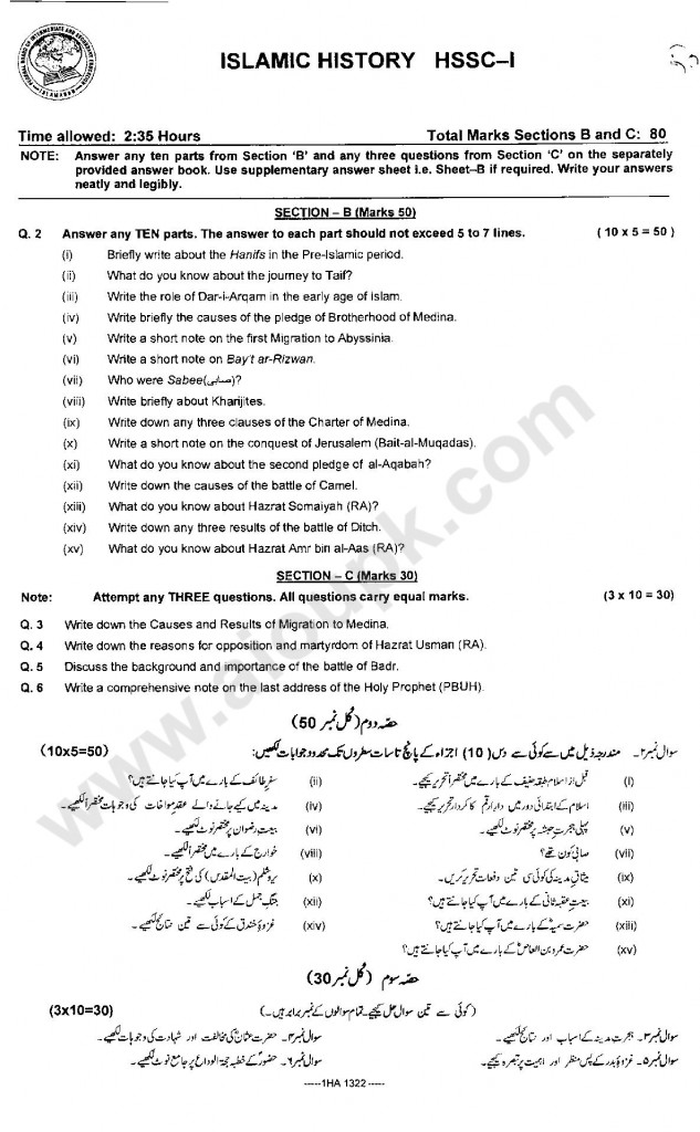 Islamic History  Model Guess papers 2014 Federal Board FBISE 2014