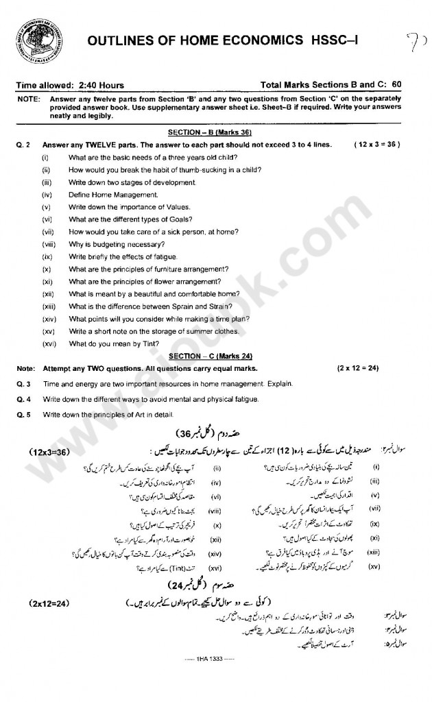 Outlines of Home Economics Guess paper pattern paper / Old paper 2014