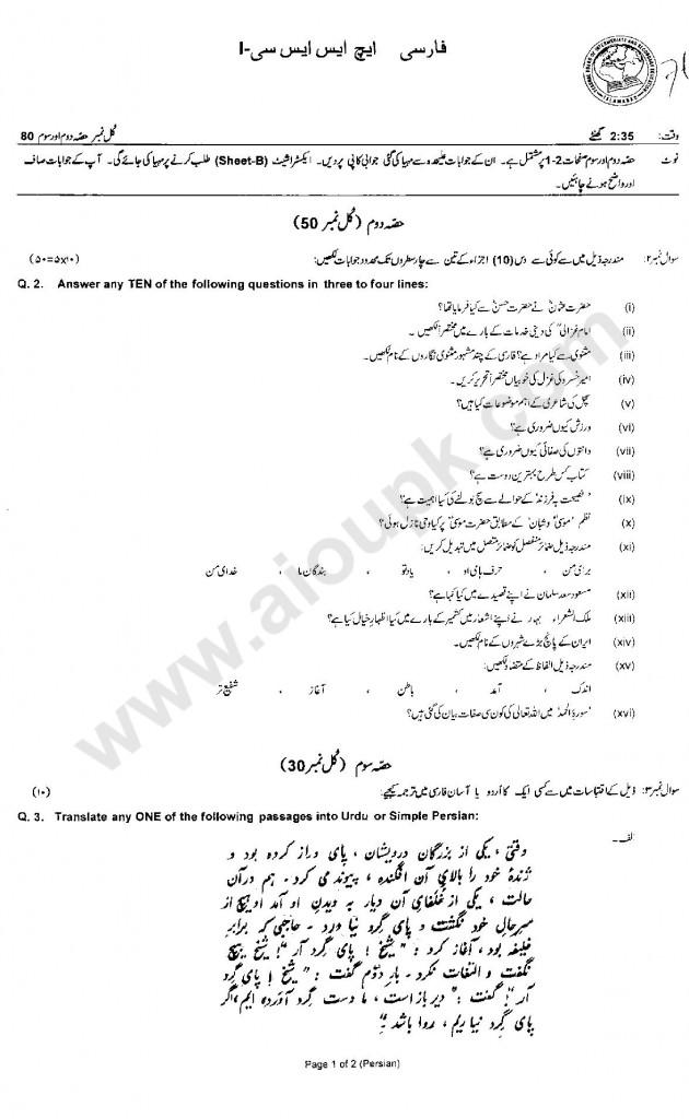 Persian Model Guess paper FBISE 2014