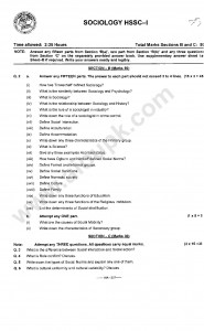 Sociology Model Guess Paper 2014 for First year HSSC-I
