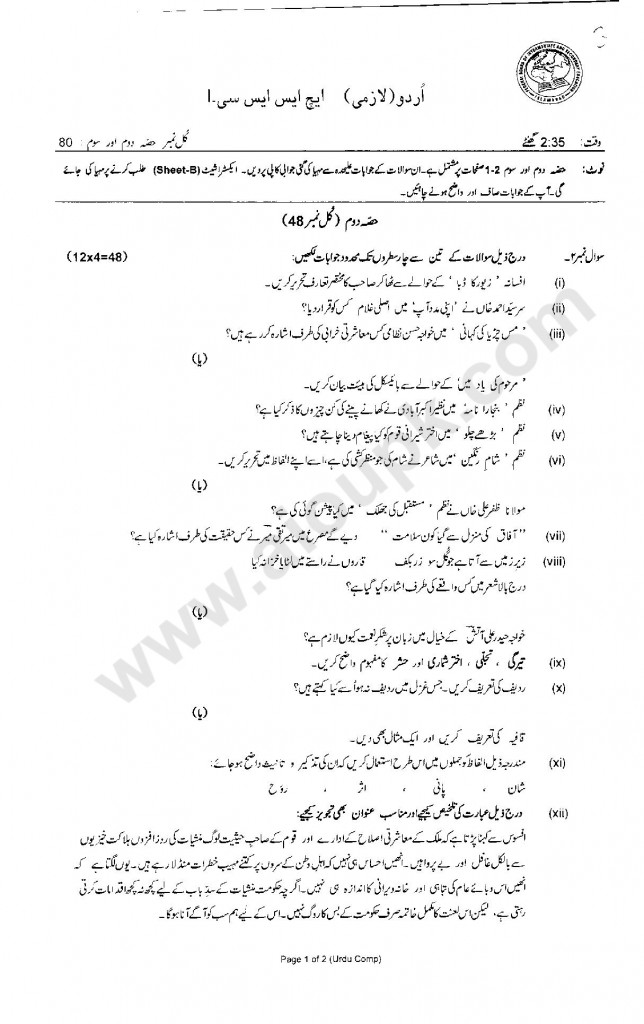 Urdu Compulsory Model Guess papers pattern paper Federal board HSSC-I 2014
