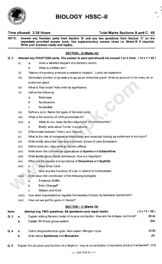 Biology  Model Guess papers for 2nd year FBISE 2014