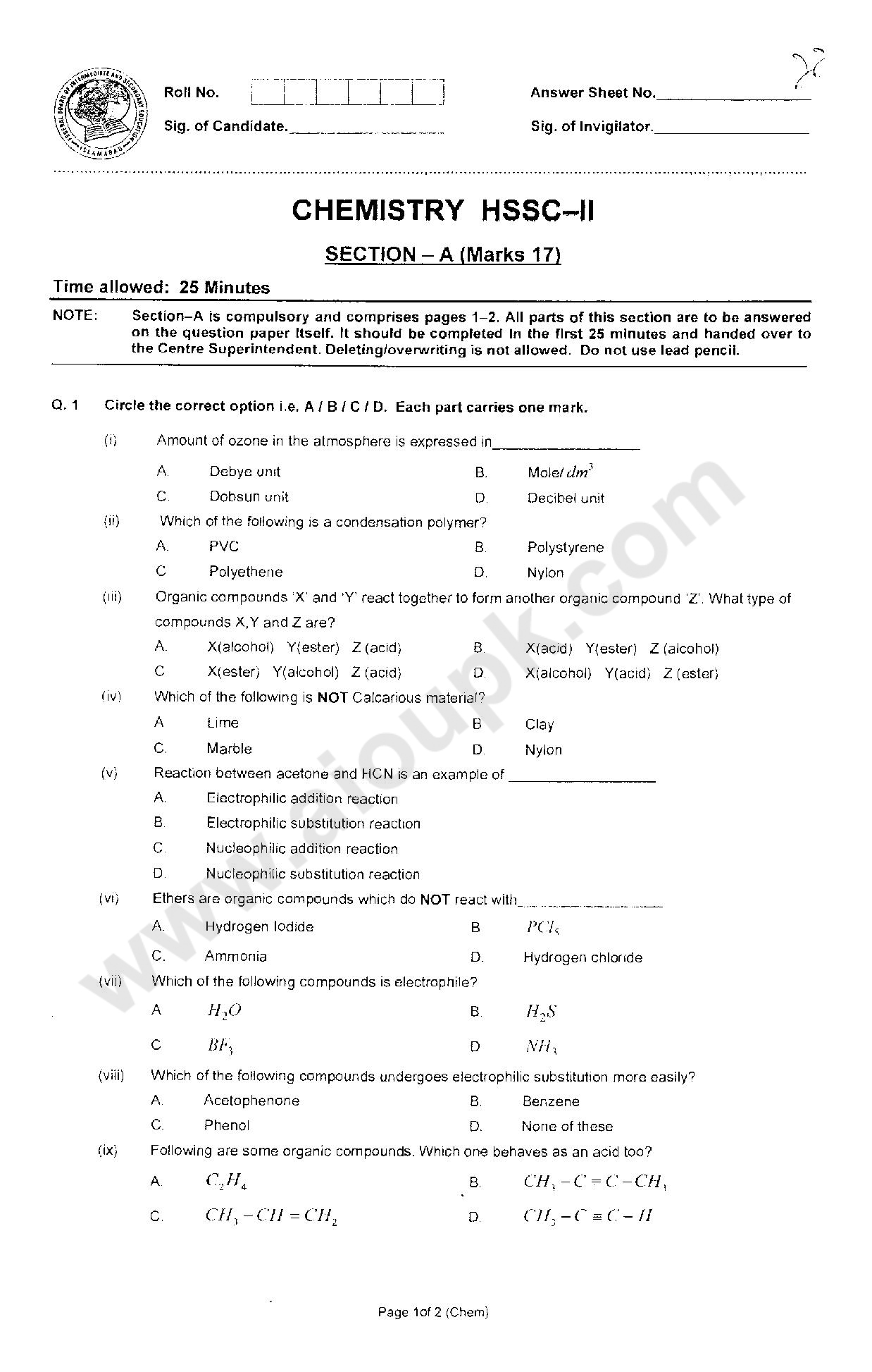 Supplementary paper of chemistry for 2nd year students – 2014