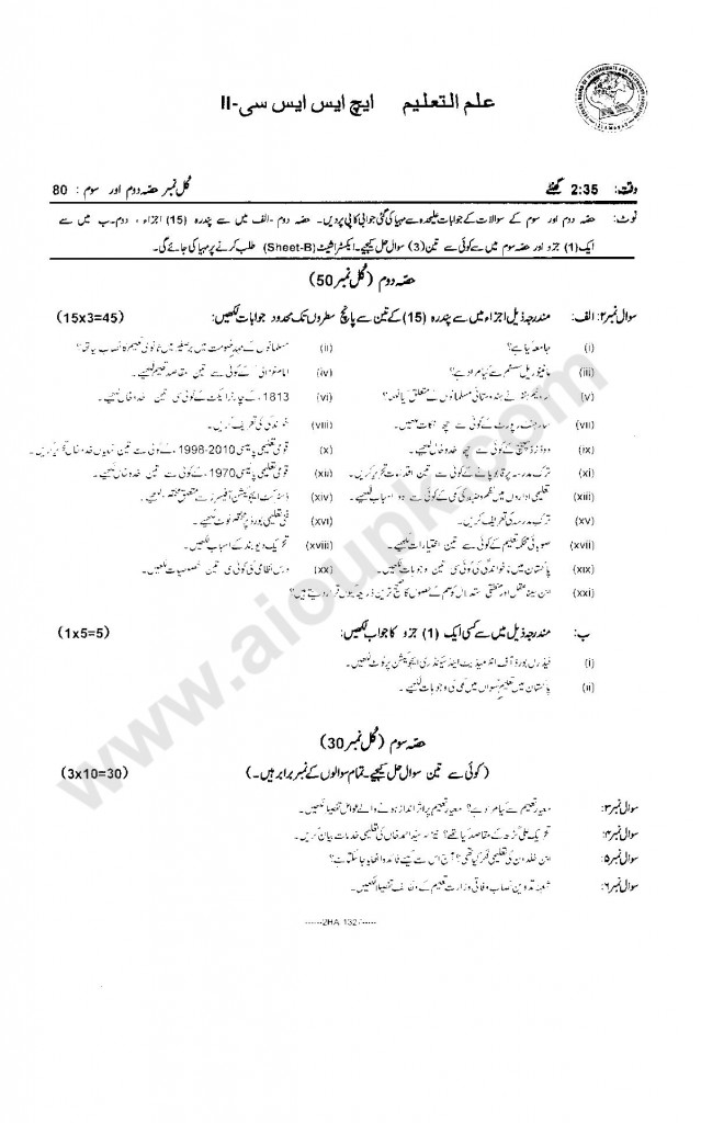 Education Model Guess papers Pattern Paper 2014 federal Board 12th class