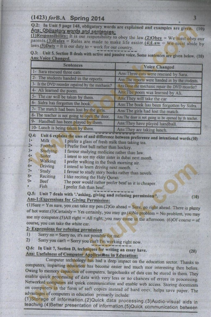 AIOU Free solution of Assignment code 1423 Spring 2014