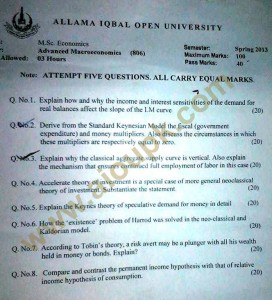 Masters in Economics Code 806 AIOU old paper