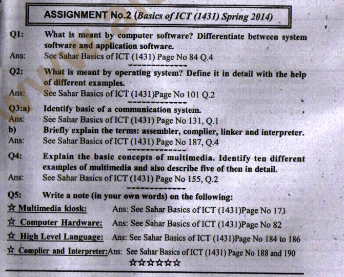 2nd solved assignment of Basics of ICT Code 1431