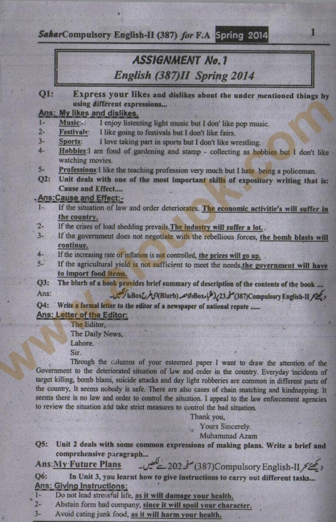 AIOU Old paper Code 387 English FA