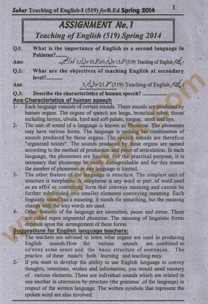 AIOU Solved assignment Code 519 Spring 2014
