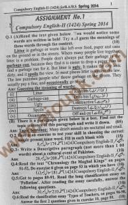 AIOU Free solve Assignment Code 1424 BA / B.com 2014