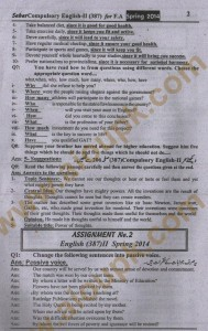 Allama Iqbal Open University AIOU Solved assignment FA English Code 387 - Spring 2014