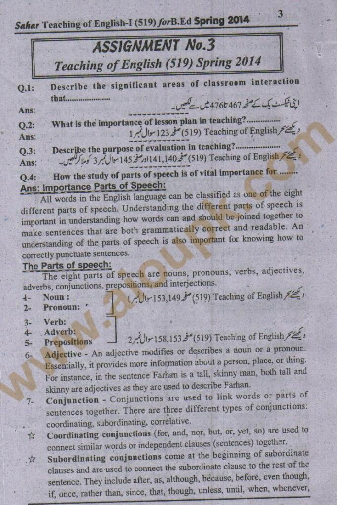 teaching of English Free assignment of Allama Iqbal Open University