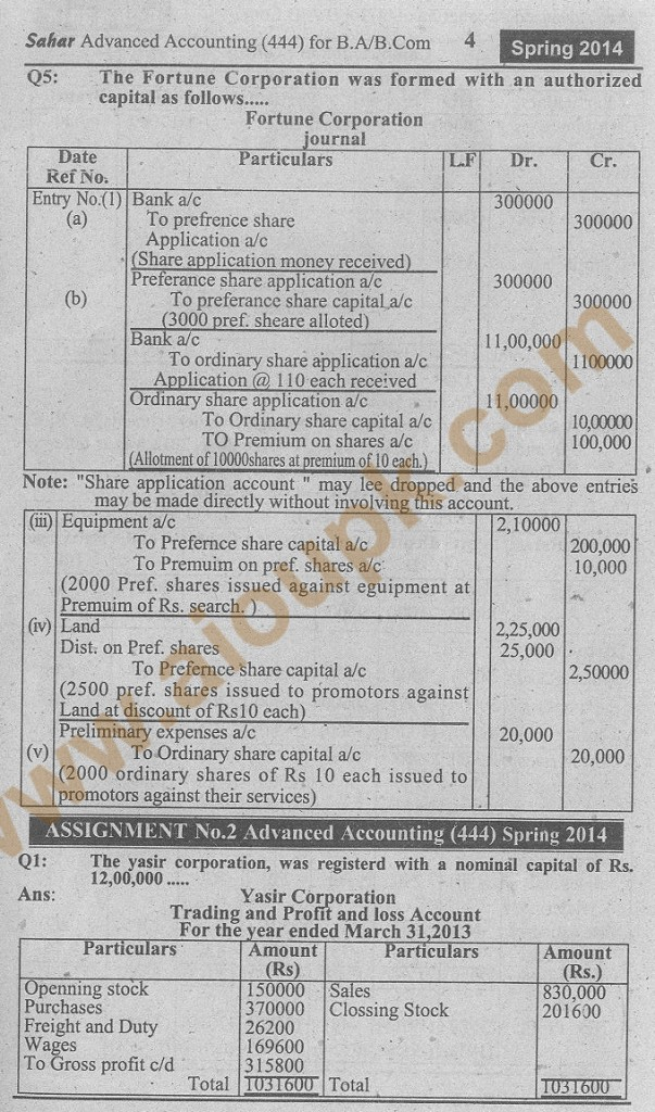 4-AIOU Advance accounting assignment code 444 spring 2014