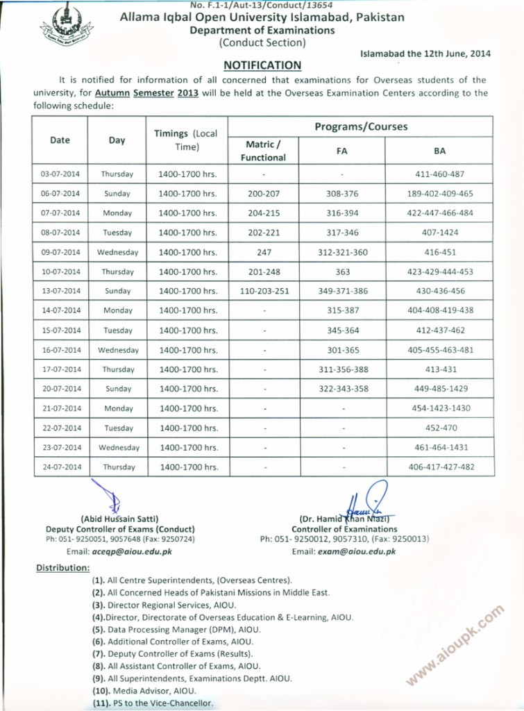 Allama Iqbal Open University Overseas Final exam date sheet Autumn 2013
