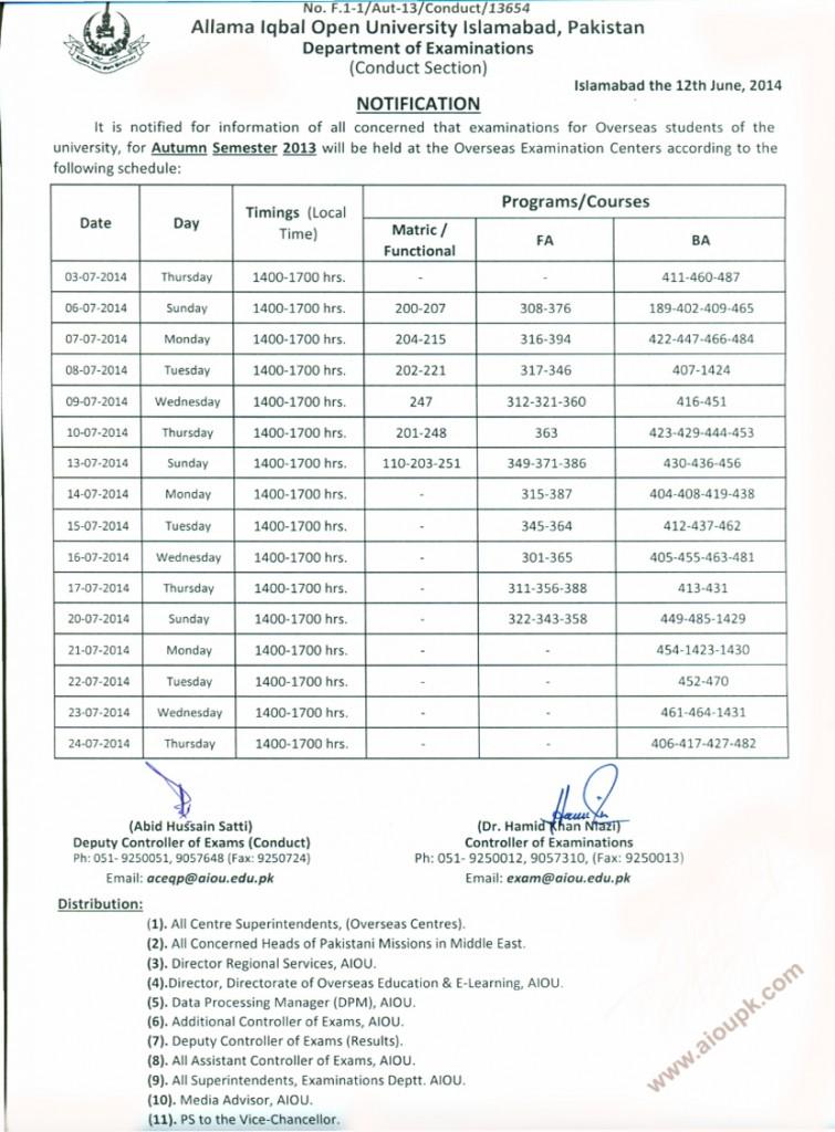 Allama Iqbal Open University Overseas Final exam date sheet Autumn 2013