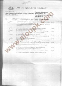 AIOU Old Papers BS Object Oriented Analysis and Design Code 3464 - Autumn 2013 - 2014