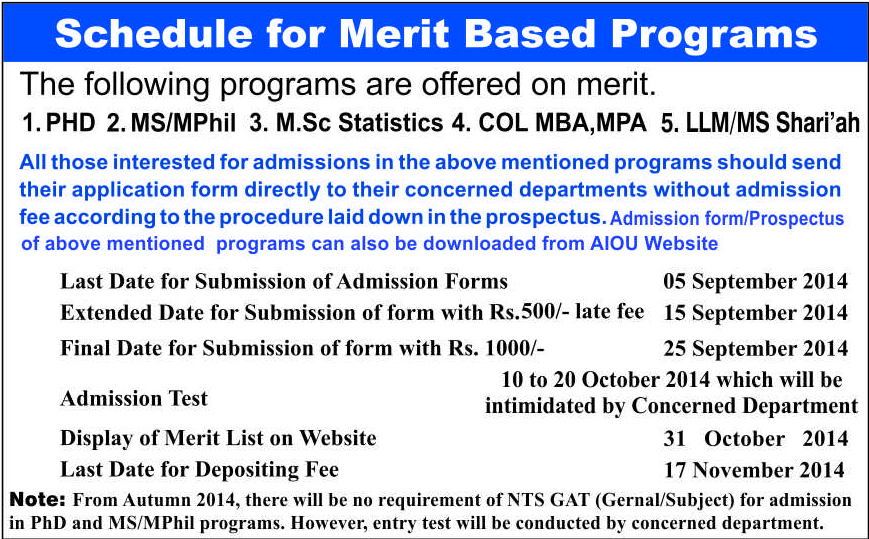 admissions for MBA Masters MA Phd Merit based programmes 2014