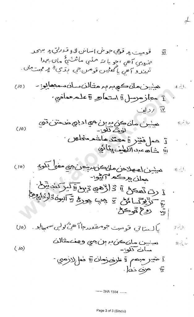 Sindhi  Subjective HSSC 2 FBISE 2013-14