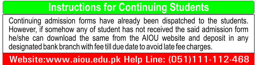 instructions for continue students for Autumn 214