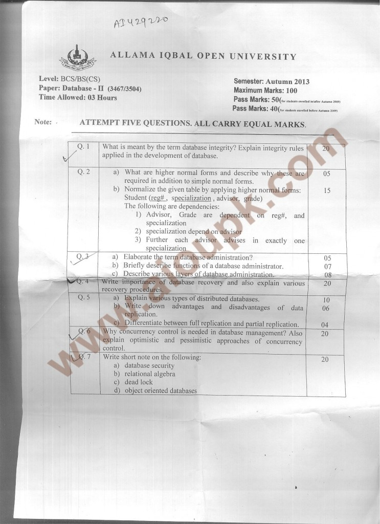 Aiou Old Papers Database II code 3467