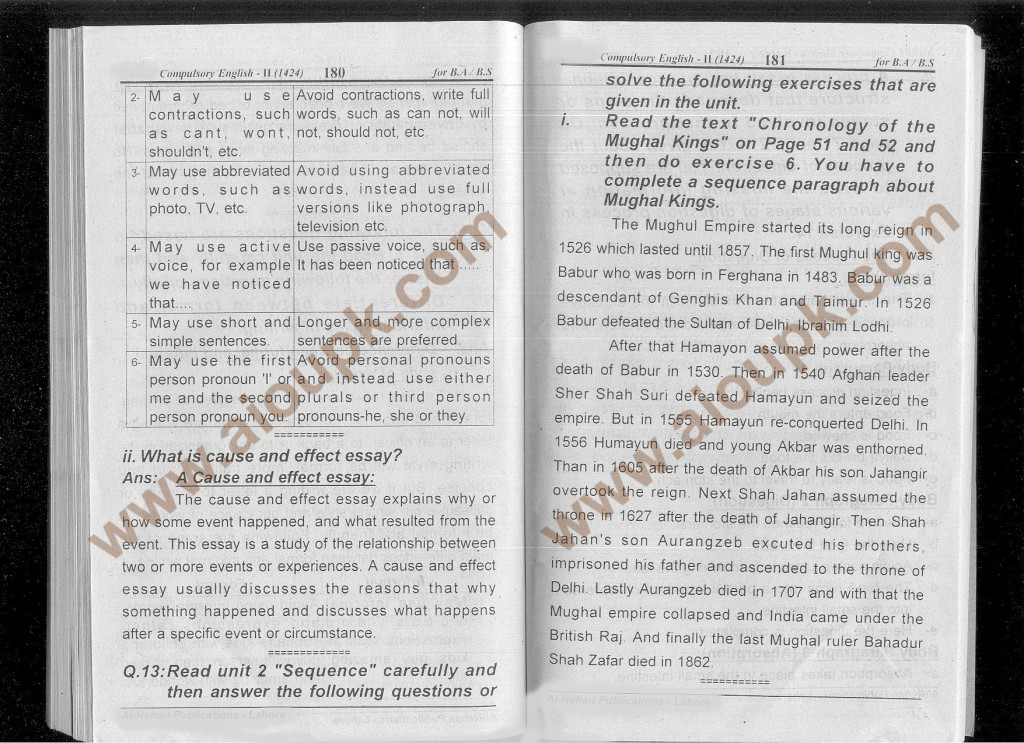 Answer of question 4, English-II Code 1424 Spring 2014