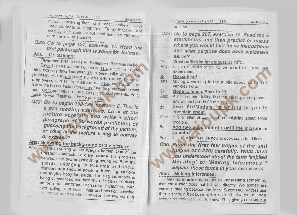 q8b-212-Answers of Assignment English-II Code 1424 for BA-B-com Spring 2014