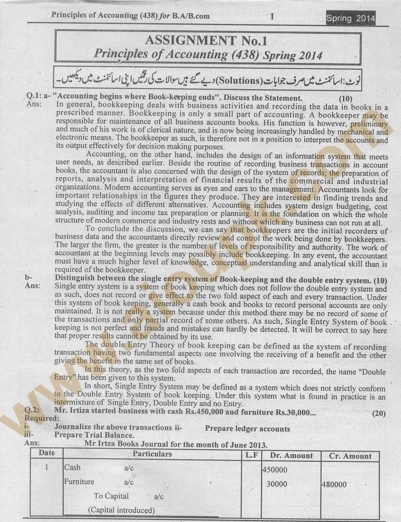 Solved assignment free AIOU spring 2014