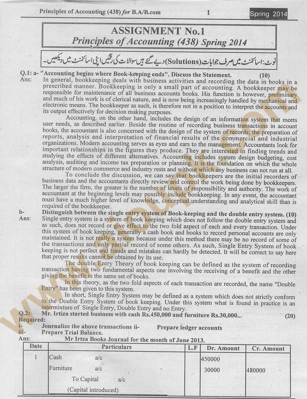 principles of accounting code 438 solved assignments 2014 of aiou solved assignment aiou spring 2014