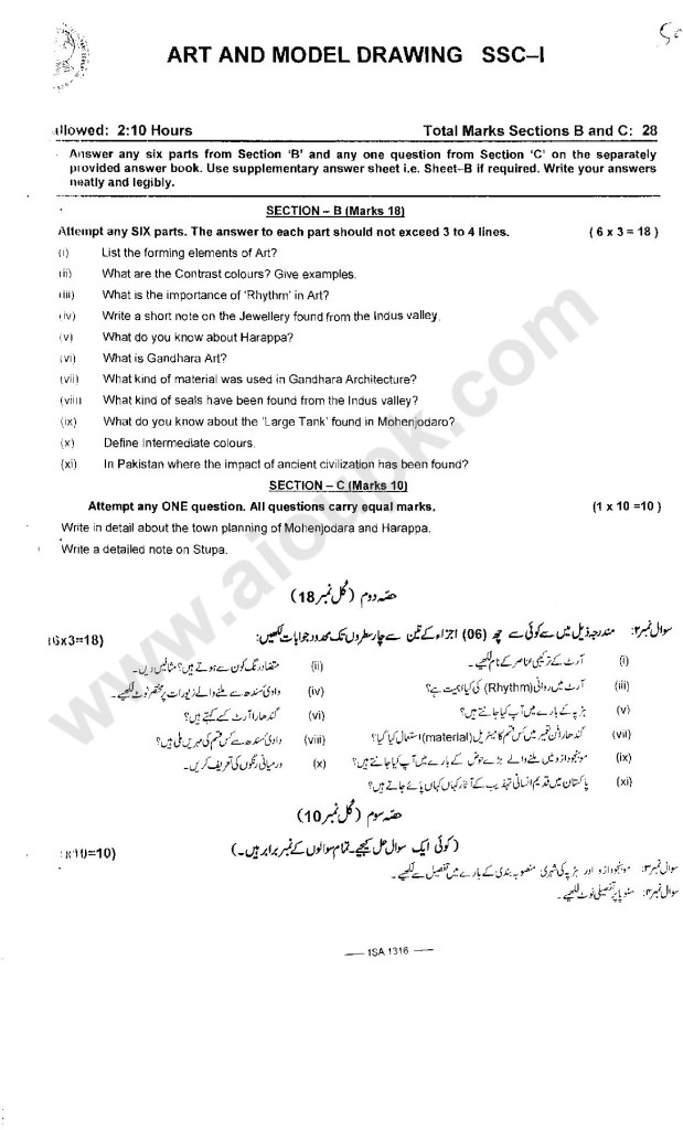 Subjective type paper of FBISE 2014 for class 9th SCC part 1