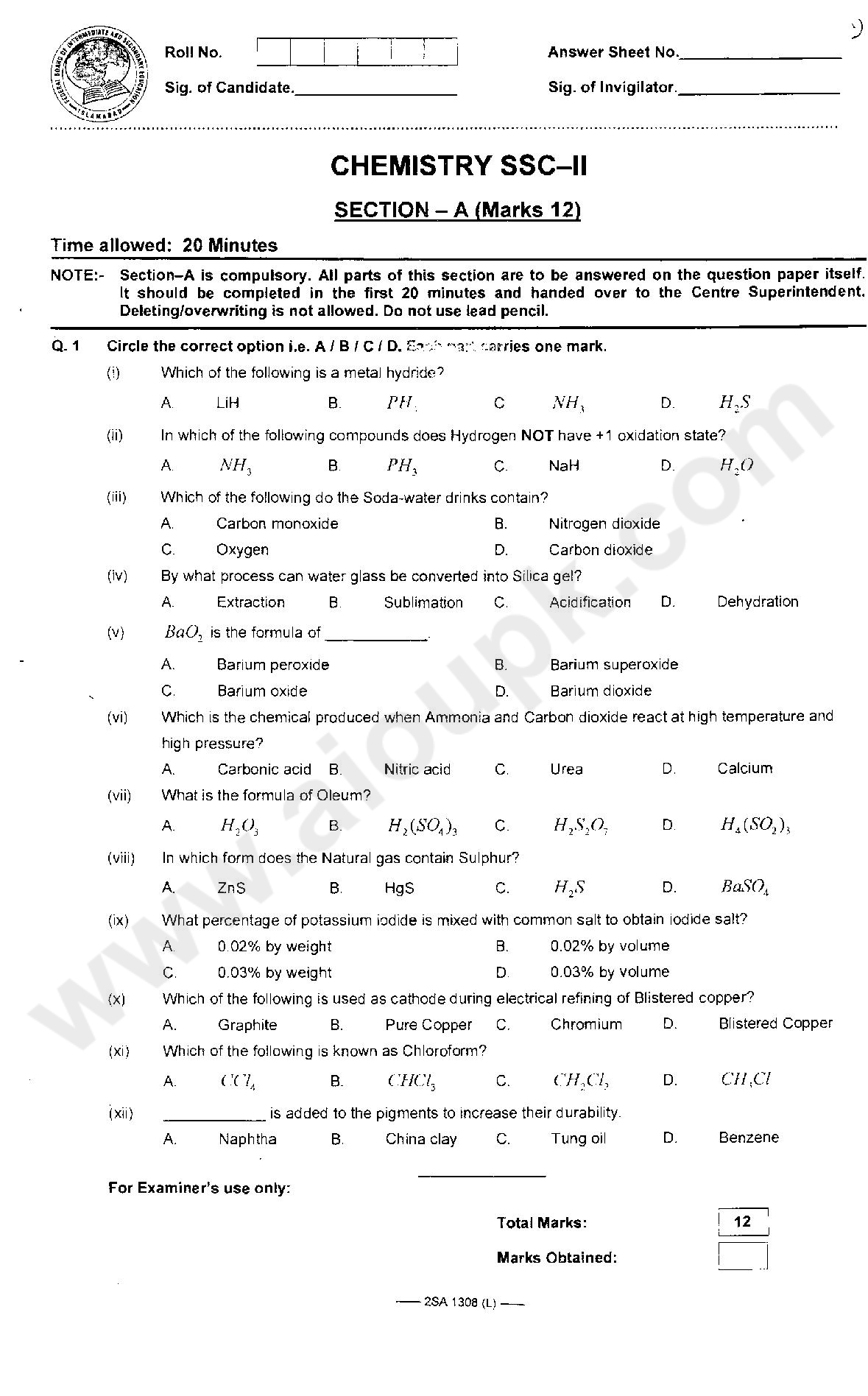 Chemistry Past Model Papers of SSC II Matric Federal Board 2014