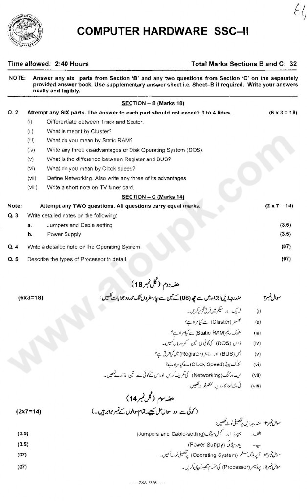 annual exam of computer hardware matric SSC part 2 2014 fbise