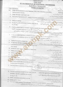 DAE Principles of Electrical Engineering Old paper 2014 first year