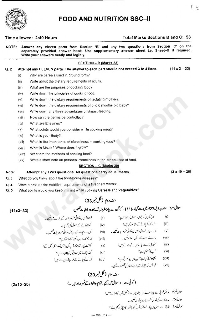 Food and Nutrition Guess papers of SSC Part 2 FBISE 2014