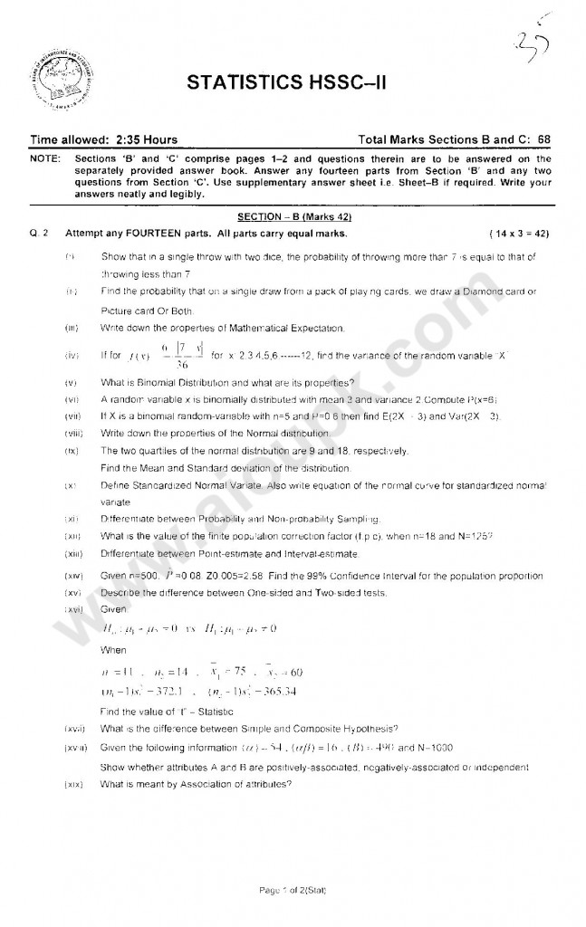Statistics Intermediate Five Year Past papers FBISE 2014