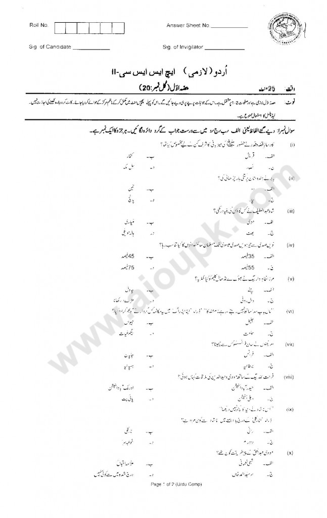 Urdu Compulsory Guess Papers  HSSC Part 2 FBISE 2014