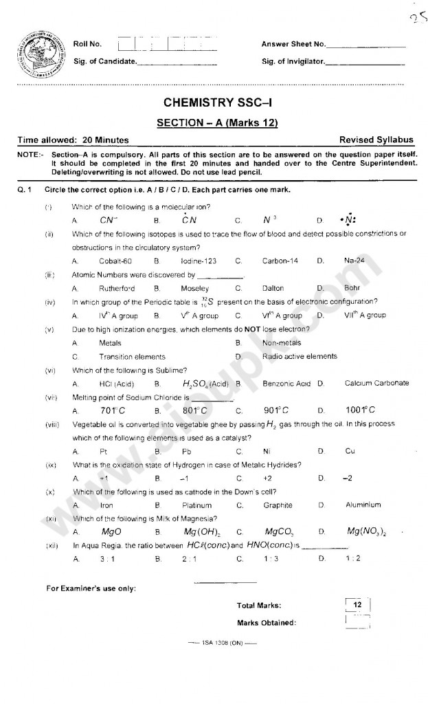 Chemistry Past Objective Papers of FBISE Tenth Class 2014-15