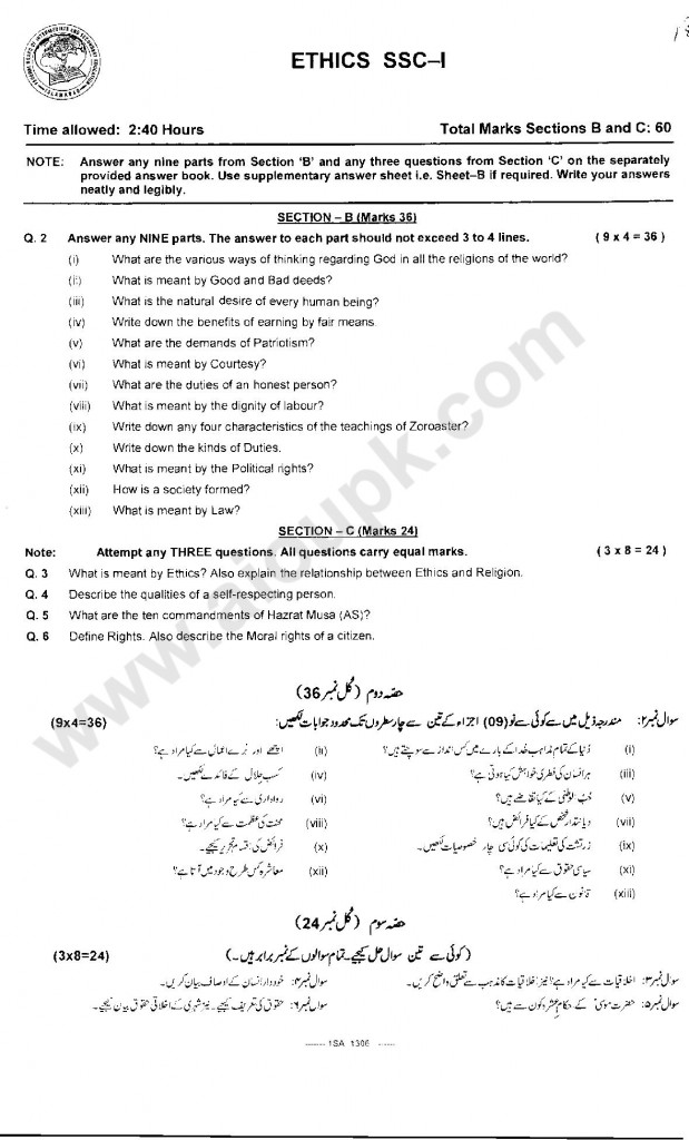 Ethics Past papers of 9th Class Federal Board 2015