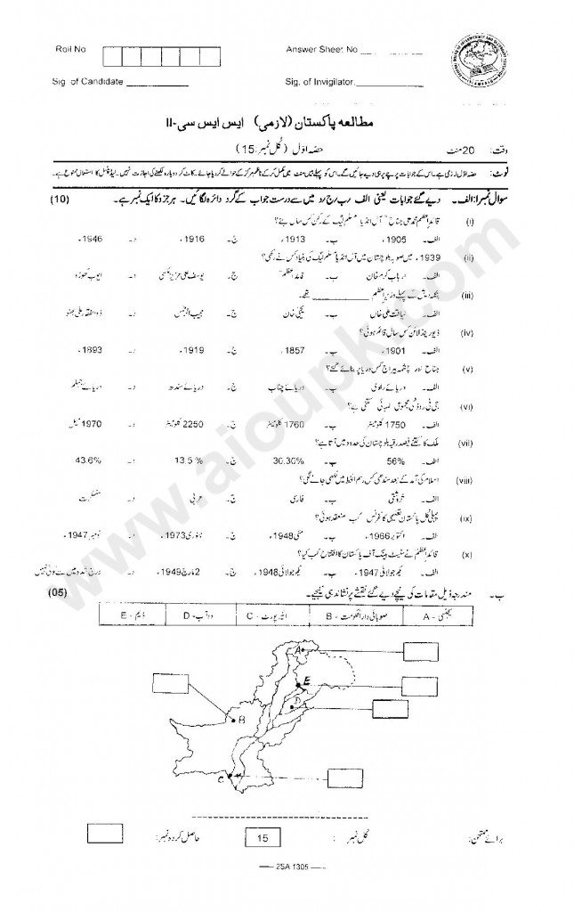 Pakistan Studies Guess Papers of Federal Board 10th Class 2014