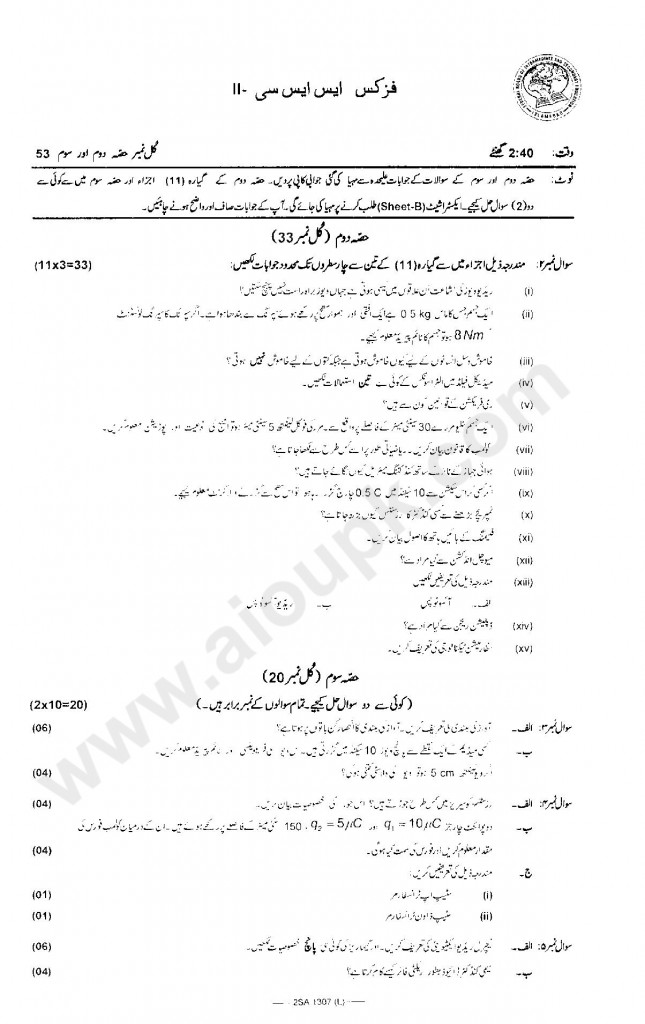 Physics Guess Papers of Matric 10 Class FBISE 2014