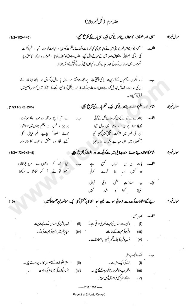 Urdu Compulsory Five Past Years Papers of SSC Part 2 FBISE 2015