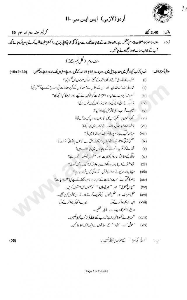 Urdu Objective Papers of Matric Class Federal Board 2015