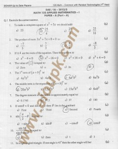 DAE Mathematics 123 solved papers