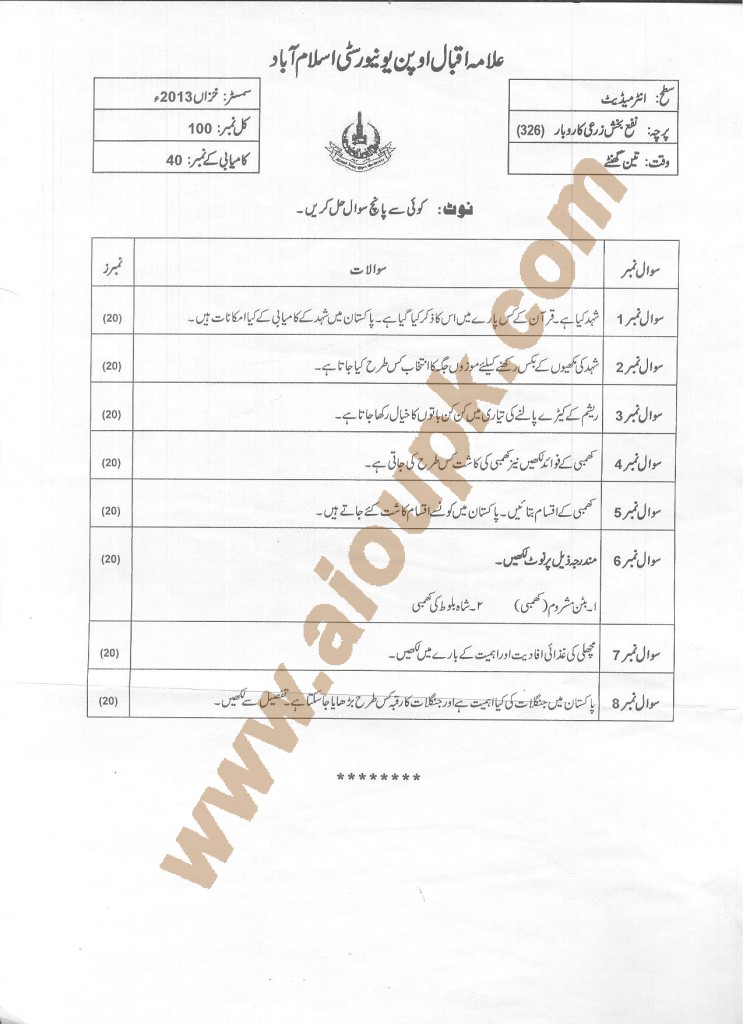 AIOU Old Paper Code 326 Farm Income Generating Skills 2014