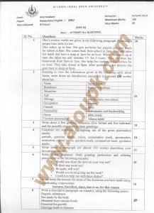 AIOU Old paper Code 386 Compulsory English-I 2014