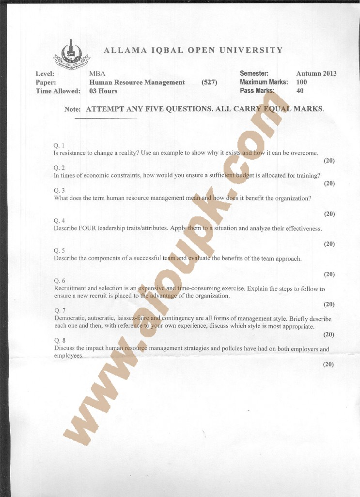 AIOU old paper MBA Code 527 Human Resource Management  2015